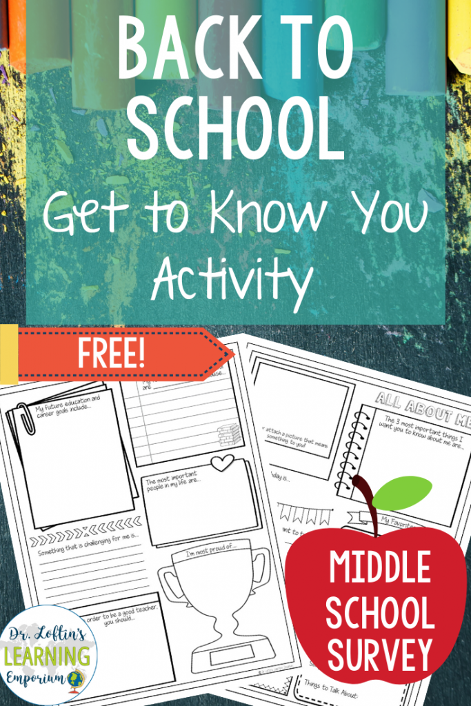 Back to School Get to Know You Activity Surveys