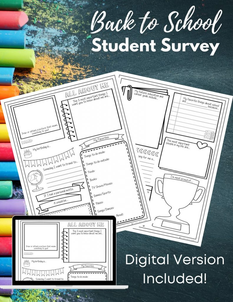 Back to School Student Survey images with chalkboard background
