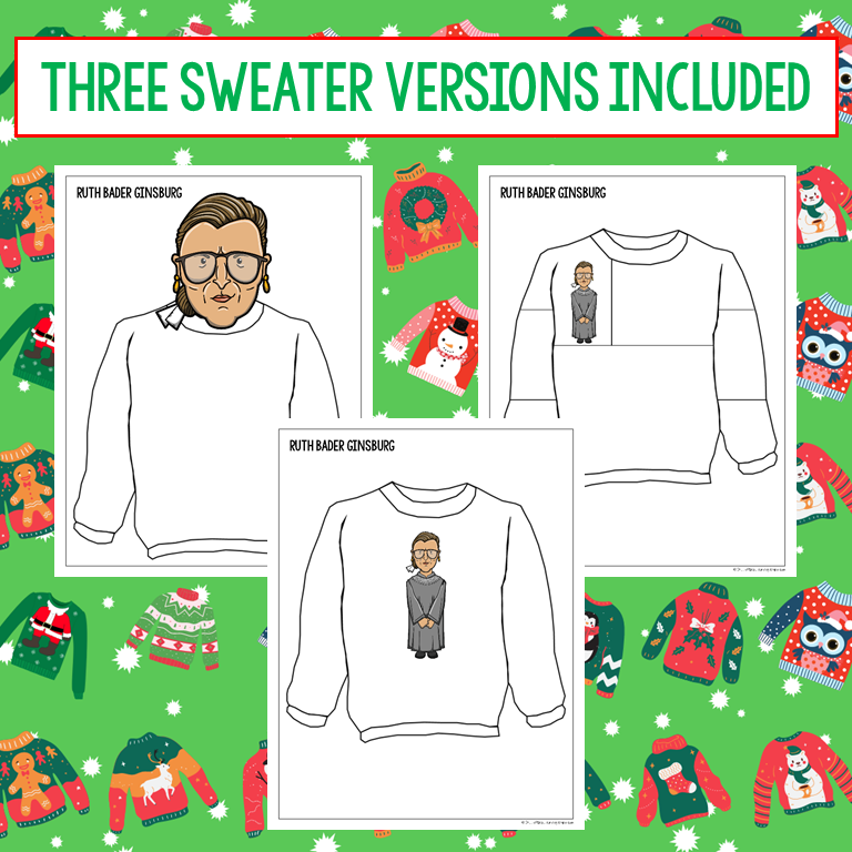 Three ugly holiday sweater templates featuring clip art of Ruth Bader Ginsburg