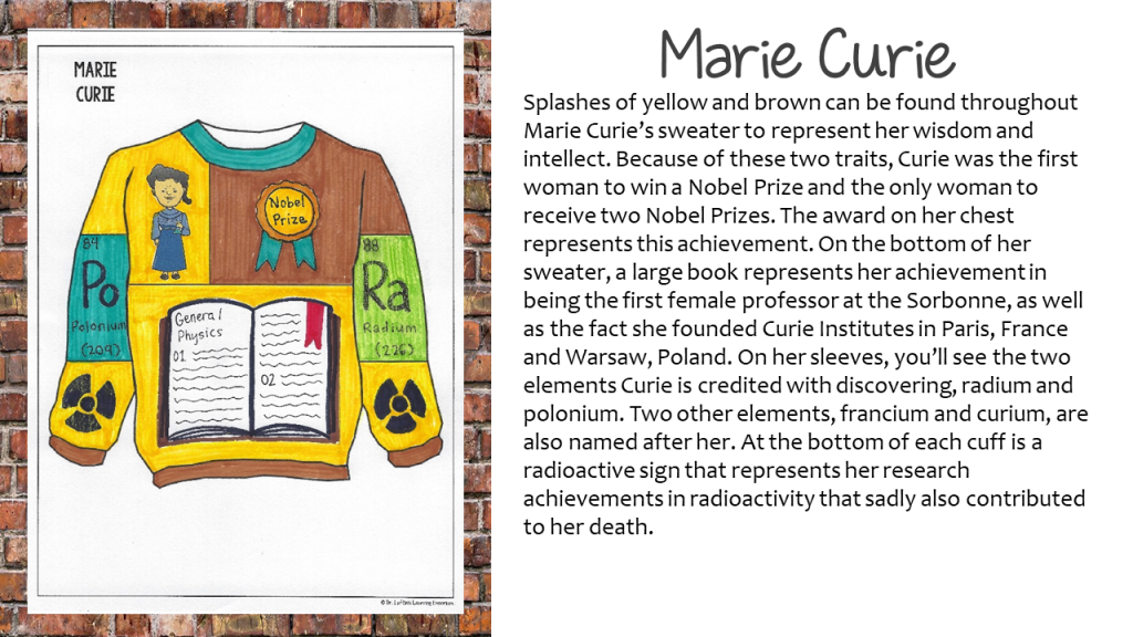Marie Curie Ugly Holiday Sweater with Rationale