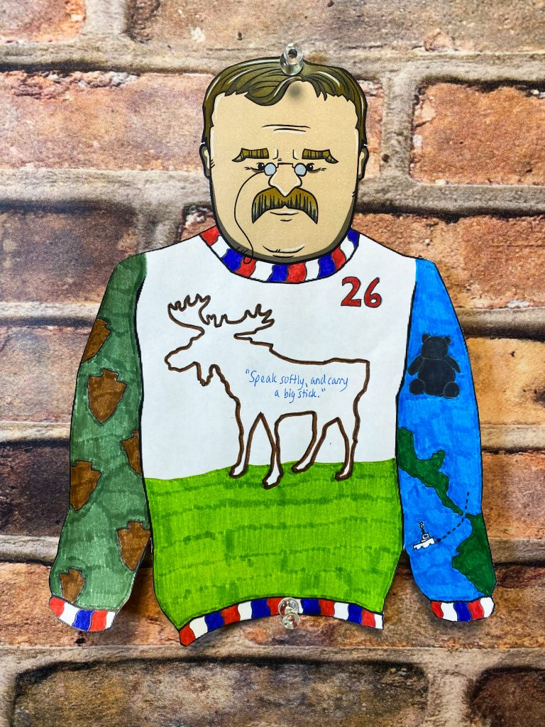 Teddy Roosevelt Ugly Holiday Sweater with a quote Speak softly and carry a big stick.