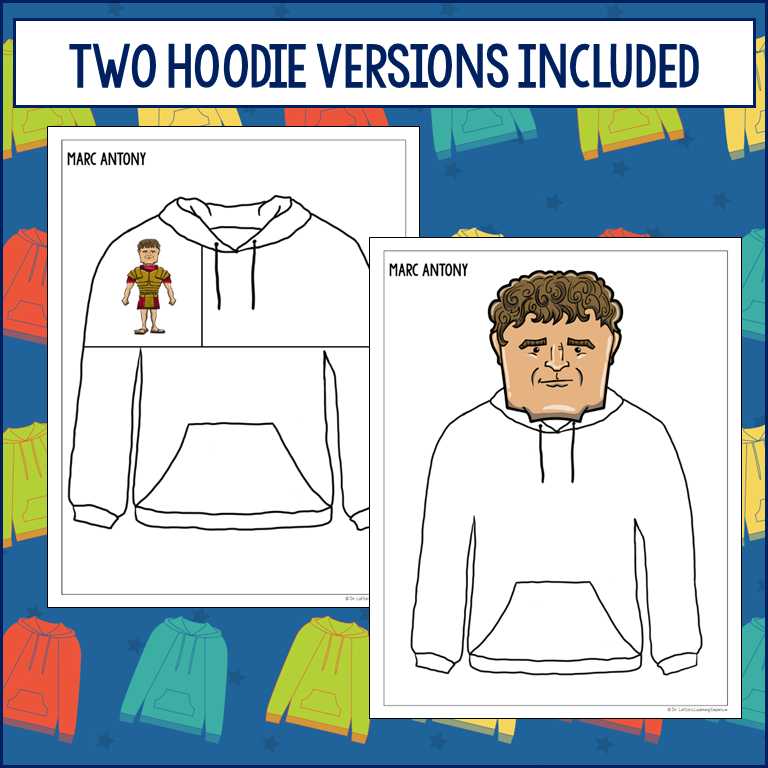 "Historical Hoodies Activity for Social Studies  Image shows two examples of the hoodie templates. There is also text that reads ""two hoodie versions included."""