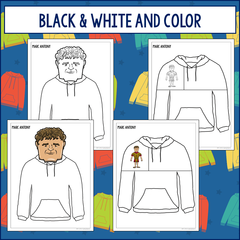 "Historical Hoodies Activity for Social Studies  4 images of hoodie templates are shown. There is also text that says ""black & white and color"""