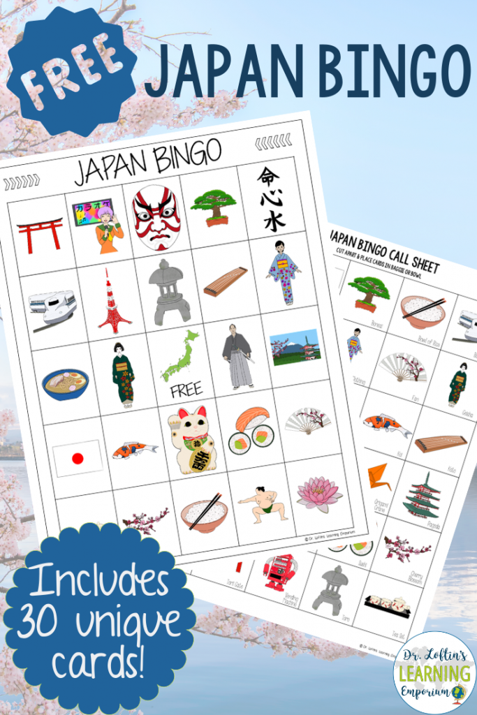Free Japan Bingo game for Tokyo 2020 Summer Olympics includes 30 unique cards for your classroom or Olympics themed party
